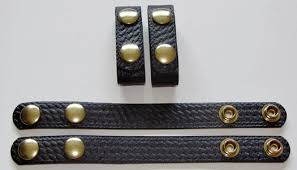 leather police belt keepers brass snaps