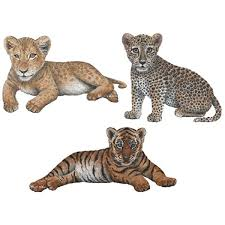 Amazon Com Walls Of The Wild Big Cat Cubs Wall Decals Collection Includes Tiger Cub Wall Sticker 17 In X 8 In Leopard Cub Wall Sticker 12 In X 10 In And Lion