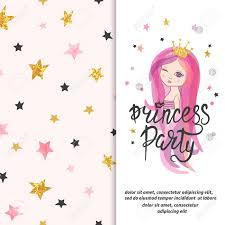 Plantilla De Invitacion De Fiesta De Princesa Vector Diseno De