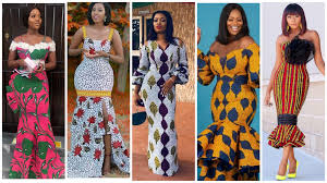 5 different black women dressed in colorful Ankara dresses