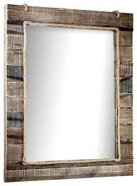 rustic wood paneled wall vanity mirror