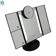 portable tri fold led lighted mirror