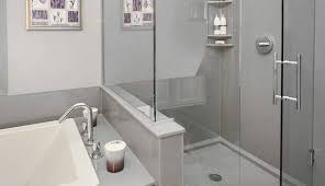 walk shower glass panel tray and fixed