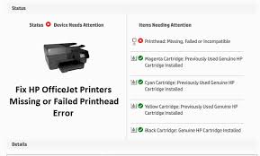 Fix Hp Officejet Printers Missing Or Failed Printhead Error