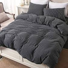 striped cotton jersey knit duvet cover