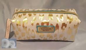 white gold cheetah print makeup bag