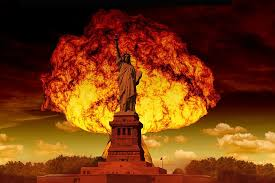 estatua de la libertad, hongo atómico, bomba atómica, armas ...