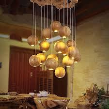Pendant Lights Mini Style Bulb Included Lantern Bedroom Study Room Office Kids Room Game Room Wood Bamboo Lighting Pop