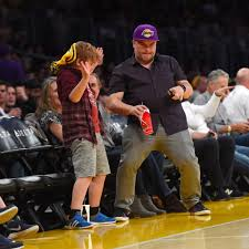 Jack Black and Son at LA Lakers Game ...