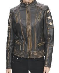 womens stars black leather jacket