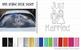 Just Married Husband And Wife Vinyl Graphic Decal For Car Window By Shop Vinyl Design Shop Vinyl Design