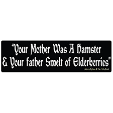 Amazon Com Bumper Planet Bumper Sticker Your Mother Was A Hamster Funny Monty Python And The Holy Grail 3 X 10 Inch Vinyl Decal Professionally Made In Usa Automotive