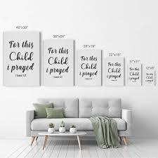 For This Child I Prayed 1 Samuel 1 27 Bible Verse Scripture Wall Art Smile Art Design