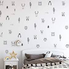 Amazon Com Animal Wall Decals For Kids Bedrooms Nursery Baby Room Play Room Kids Room Stylish Safari Woodland Animal Jungle Tree Wall Stickers For Baby Nursery Black And White Bedroom Decals Arts