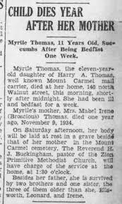 Death notice - Thomas, Myrtle - Mount Carmel Item 1935-11-21 ...