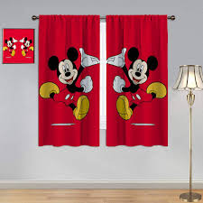Amazon Com Kids Room Window Curtain Mickey Minnie Mouse Curtains Red Window Curtain Fabric For Bedroom Living Room 63x63 Inch Home Kitchen