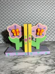 Tatutina Hand Painted Wood Flower Bookends Whimsical Kids Room Girls For Sale Online Ebay