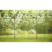 Amagabeli Decorative Garden Fence 44in X 6ft Coated Metal Outdoor Rustproof Landscape Wrou Steel Fence Panels Decorative Garden Fencing Decorative Fence Panels