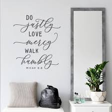 Do Justly Love Mercy Walk Humbly Vinyl Wall Decal Large Bible Etsy