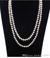 pearl necklace double row white round