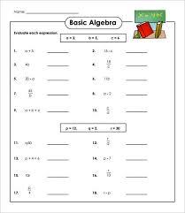 13 simple algebra worksheet templates