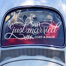 Fancy Just Married Car Sign Custom Vinyl Decal Wedding Car Sticker Personalised Name Art Decals Window Glass Decor New Lc775 Wall Stickers Aliexpress