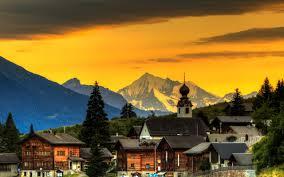 تحميل خلفيات الجبال جبال الألب غروب الشمس مساء بيوت خشبية