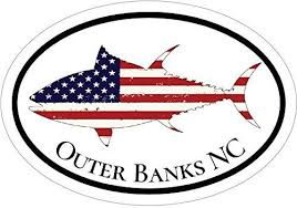 Wickedgoodz American Flag Tuna Outer Banks Nc Vinyl Decal Beach Bumper Sticker Perfect Fishing Vacation Gift Wickedgoodz