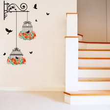 Fake Metal Scroll Shelves Flowers Birdcage Flying Birds Wall Stickers Home Decor Wall Decal Hallway Corner Wall Graphic Poster Decorative Wall Decal Bird Wall Stickerwall Sticker Aliexpress
