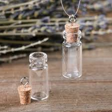 miniature corked glass bottle charms