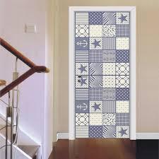 Blue Checks Geometry Door Sticker Wallpaper Living Room Kitchen Bathroom Door Waterproof Home Decal Vinyl Door Mural Door Stickers Aliexpress