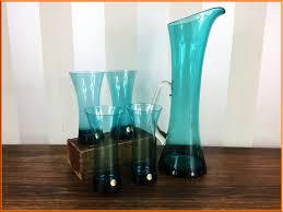 polish teal blue water jug set 1960 s