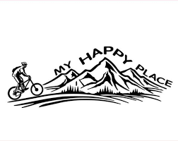 Mountain Biking Vinyl Decal Sticker My Happy Place Biking Etsy Bike Tattoos Mountain Bike Tattoo Mountain Bike Art
