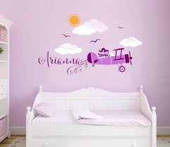 Airplane Personalized Custom Name Repositionable Reusable Etsy Girls Room Wall Decor Baby Wall Art Girl Nursery Room