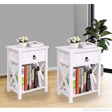 Lazymoon Set Of 2 Mdf Nightstand Table X Design Kids Room End Table Side Table Home
