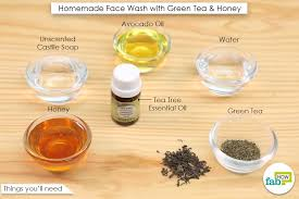 homemade face wash with green tea and