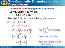 the quadratic formula 9 9 and the