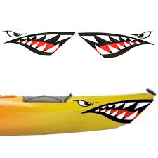 2pc Kayak Sticker Waterproof Shark Teeth Mouth Stickers Decal Canoe Dinghy Marine Boat Car Truck Rowing Boats Aliexpress