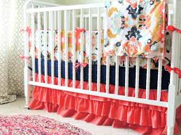 red fl baby bedding peach crib aqua