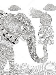 Elephant Adult Coloring Page Stock Vector C Kchungtw 105628640