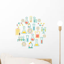 Chemistry Icons Background Wall Decal Wallmonkeys Com