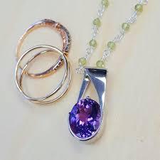 silver jewelry oval amethyst pendant