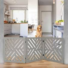 Etna 3 Panel Lattice Design Wooden Pet Gate Freestanding Tri Fold Dog Fence For Doorways Stairs Indoor Outdoor Decorative Pet Barrier At Wireless Catalog Ta5422