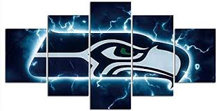 Amazon Com Seattle Seahawks Wall Decor Art Paintings 5 Piece Canvas Picture Artwork Living Room Prints Poster Decoration Wooden Framed Ready To Hang 60 Wx32 H Posters Prints