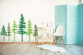 2 Color Pine Tree Forest Wall Decals Tree Wall Decals Forest Mural Forest Tree Ebay