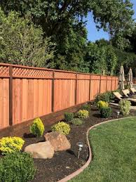 Lattice Fencing With Cross Pattern On Top And Solid Vertical Pattern Bottom Fence Buildfen Backyard Fence Decor Backyard Fences Backyard Landscaping Designs