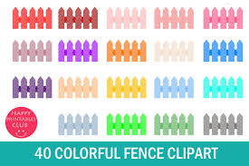 40 Colorful Fence Clipart Fence Panels Clipart 139449 Illustrations Design Bundles