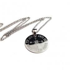 925 sterling silver engraved compass