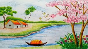 beautiful scenery drawing pictures لم