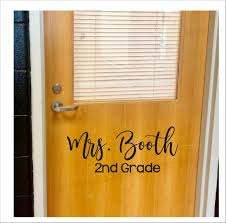 Teacher Name Decal Christmas Gift For Teacher Vinyl Decal For Classroom School Elementary Teacher Name And Grade Sticker For Door Desk